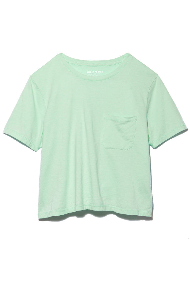 RICHER POORER Boxy Crop Tee - Mint Top | Mint| Richer Poorer Boxy Crop Tee - Mint Flatlay View Short Sleeve Boxy Crop T Shirt Banded Crew Neck Workman Style Pocket 100% Organic Cotton