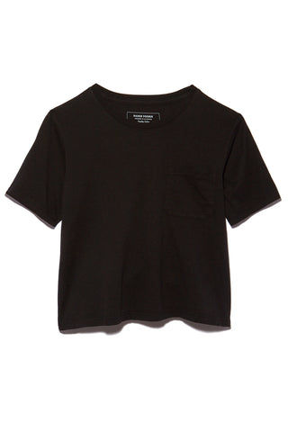 RICHER POORER Boxy Crop Tee - Black Top | Black| Richer Poorer Boxy Crop Tee - Black Flatlay View Short Sleeve Boxy Crop T Shirt Banded Crew Neck Workman Style Pocket 100% Organic Cotton