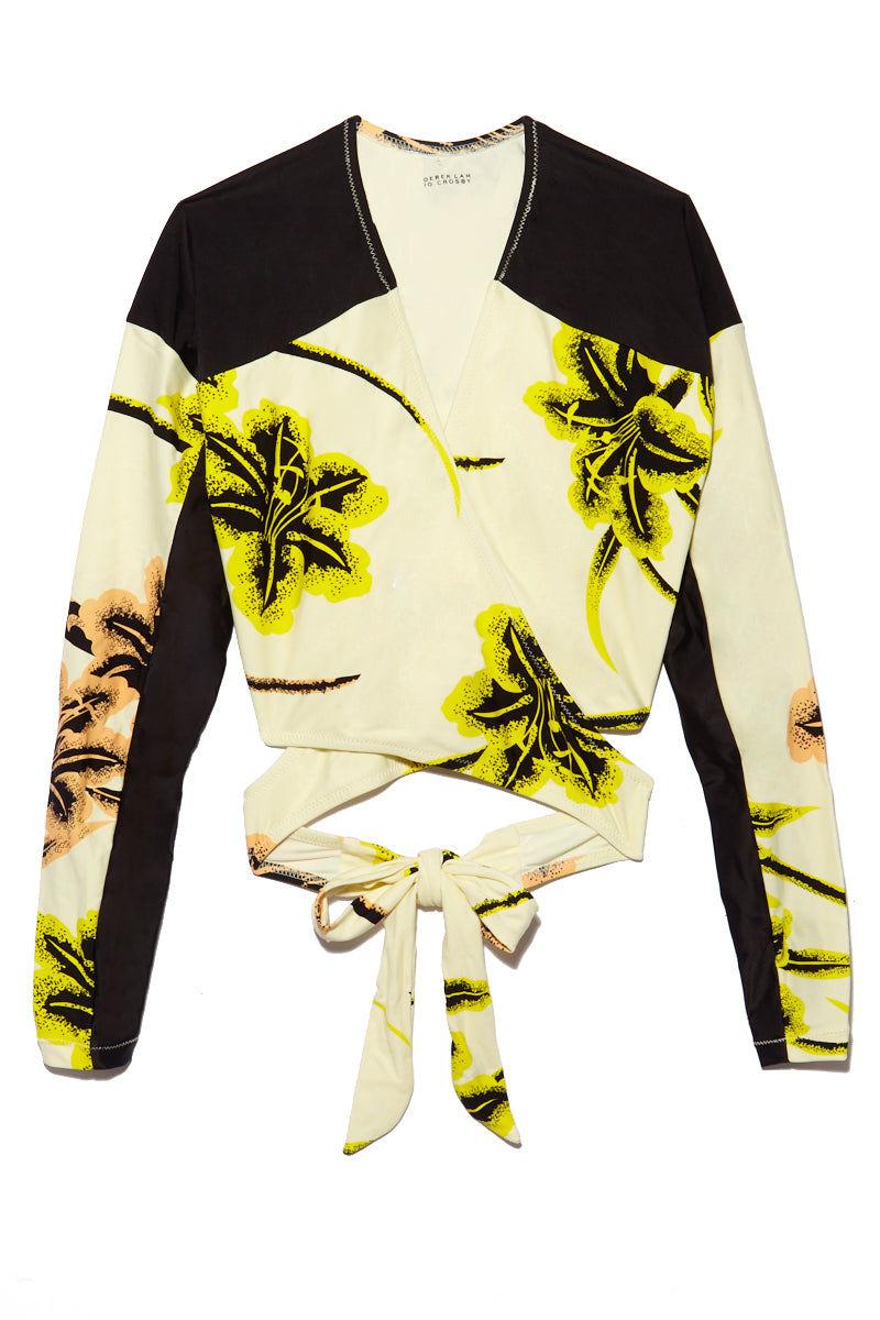 DEREK LAM 10 CROSBY Cross Wrap Rashguard - Vanilla Print Bikini Top | Vanilla Print| Derek Lam 10 Crosby Cross Wrap Rashguard - Vanilla Print Flatlay View