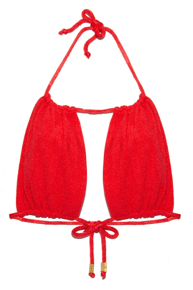 SARA CRISTINA Bahia Top - Coral Ruby Bikini Top | Coral Ruby| Sara Cristina Bahia Top - Coral Ruby Keyhole Cut Out Bikini Top Adjustable Cups Flattering High Neckline Adjustable Ties at Front Adjustable Halter Straps Gold-Plated Beads on String Ties