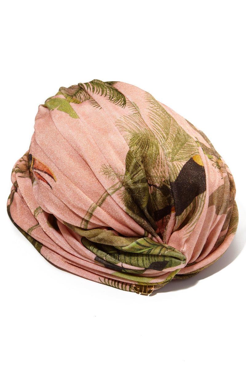 ADRIANA DEGREAS Toucan Pleated Turban - Rose Salmon Hair Accessories | Rose Salmon|