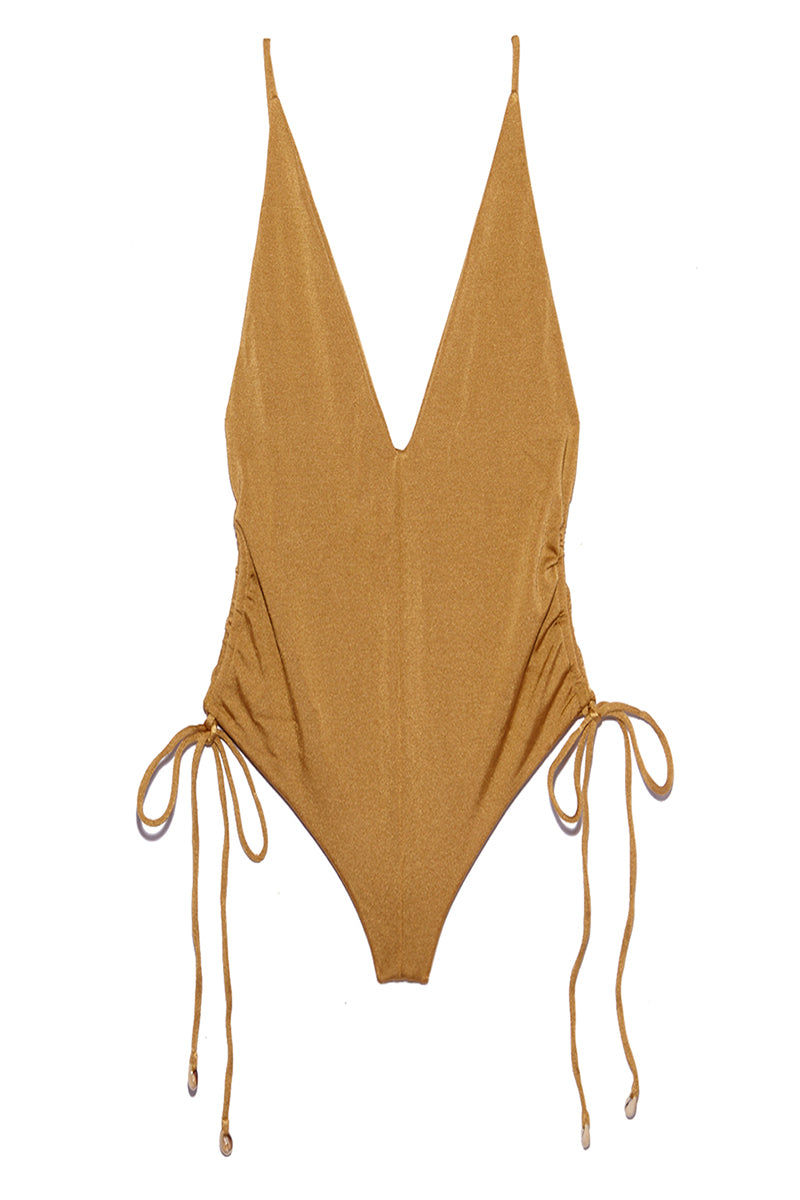 INDAH Playground Side Cinch One Piece - Cairo One Piece | Cairo| Indah Playground Side Cinch One Piece - Cairo Flatlay View Plunging V Neckline Spaghetti Straps Side Boob Exposure Cinched Sides Low Scoop Back High Cut Leg Thong Coverage Italian Shiny Lycra