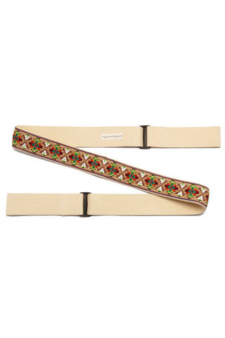VAGABONDS GOODS Mojave Guitar Yoga Mat Strap Yoga Accessories | Mojave| Vagabond Goods Mojave Guitar Yoga Mat Strap Guitar Strap-Inspired Multi-Purpose Handwoven Yoga Mat Strap Southwestern Print Nylon Backing Adjustable Slides Can be Used as Stretch Band