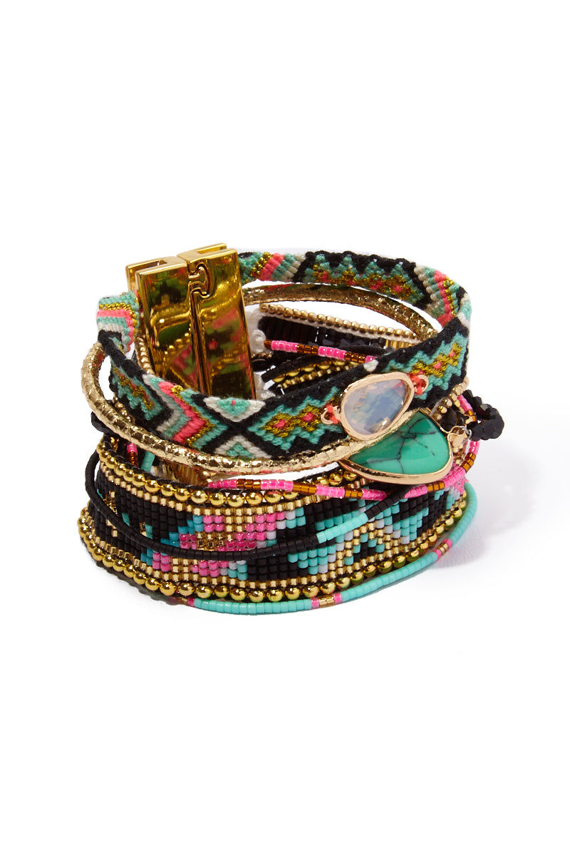 HIPANEMA AMENAPIH Dalhia Multi Link Bracelet - Black/Turquoise Jewelry | Black/Turquoise| HIPANEMA AMENAPIH Dalhia Multi Link Bracelet - Black/Turquoise Front View