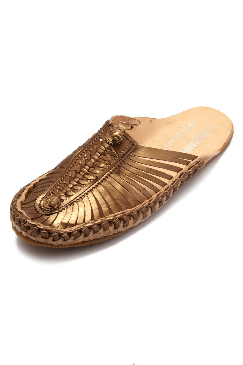 MATISSE Morocco Sandals - Bronze Sandals | Bronze| Matisse Morocco Sandals - Bronze  Angled View Slip On Sandals Woven Leather Upper Section Smooth Leather Insole   Leather Lining
