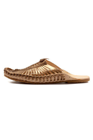 MATISSE Morocco Sandals - Bronze Sandals | Bronze| Matisse Morocco Sandals - Bronze  Side View Slip On Sandals Woven Leather Upper Section Smooth Leather Insole   Leather Lining