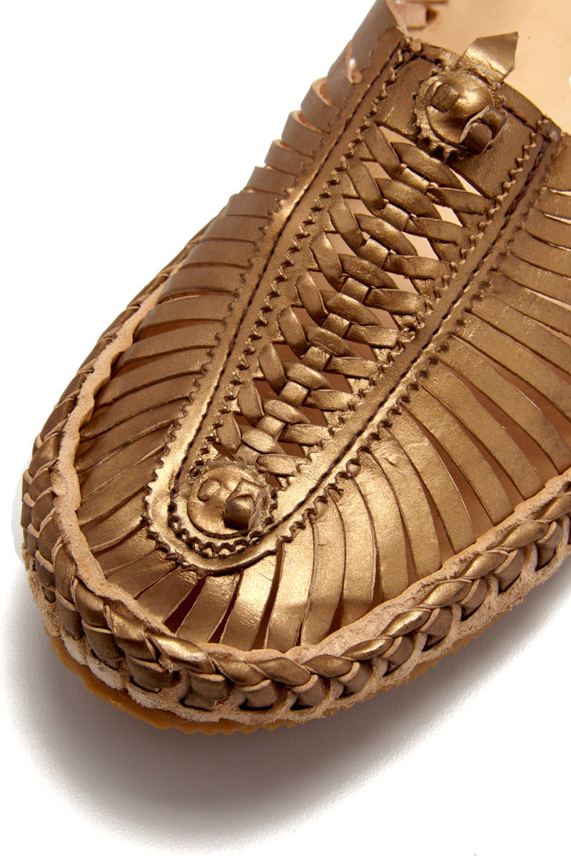 MATISSE Morocco Sandals - Bronze Sandals | Bronze| Matisse Morocco Sandals - Bronze  Close Up View Slip On Sandals Woven Leather Upper Section Smooth Leather Insole   Leather Lining