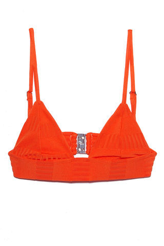 ELLEJAY Anna Textured Triangle Bikini Top - Orange Bikini Top | Orange| Ellejay Anna Textured Triangle Top - Orange Flat Lay View  Classic Triangle Top Thick Bra Band  Adjustable Shoulder Straps Clasp Back Closure  Rich Textured Fabric 80% Nylon 20% Spandex Made in the USA Hand Rinse, Dry In Shade
