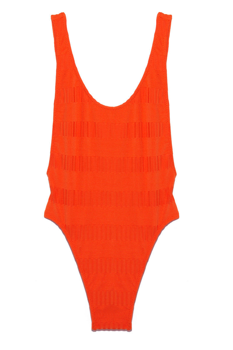 ELLEJAY Thais Textured Scoop Neck One Piece Swimsuit - Orange One Piece | Orange| Ellejay Thais Textured Scoop Neck One Piece - Orange Flatlay View Bright Orange One Piece  Striped Pattern  Low Scoop Neckline Side Boob Exposure  Low Scoop Back  High Cut Leg   Minimal Coverage 80% Nylon 20% Spandex Made in the USA Hand Rinse, Dry In Shade