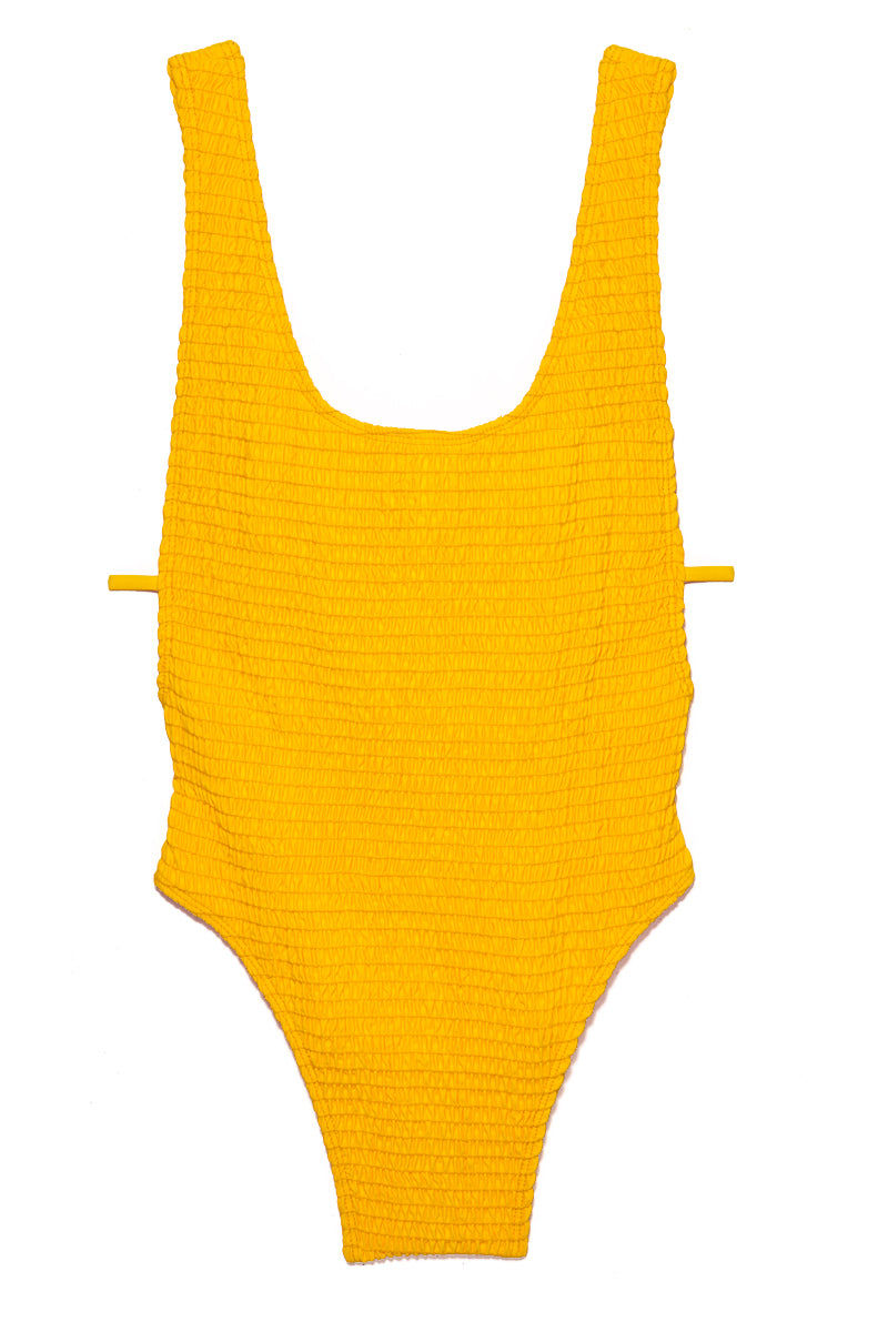 ELLEJAY Thais Textured Scoop Neck One Piece Swimsuit - Yellow One Piece | Yellow| Ellejay Thais Textured Scoop Neck One Piece - Yellow Flatlay View Bright Yellow One Piece  Low Scoop Neckline Side Boob Exposure  Side Strap Detail Low Scoop Back  High Cut Leg   Minimal Coverage 80% Nylon 20% Spandex Made in the USA Hand Rinse, Dry In Shade