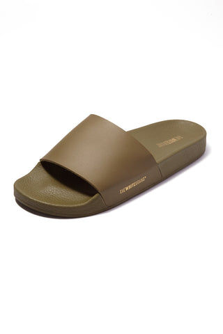 THE WHITEBRAND Minimal Slides (Men's) - Army Green Mens Sandals | Army Green| WHITEBRAND Minimal Slides (Men's) - Army Green. OutSide Sole View. Men's flat slide sandal in army green Made of PVC Synthetic exterior Textile interior 3cm high ergonomic Lightweight sole