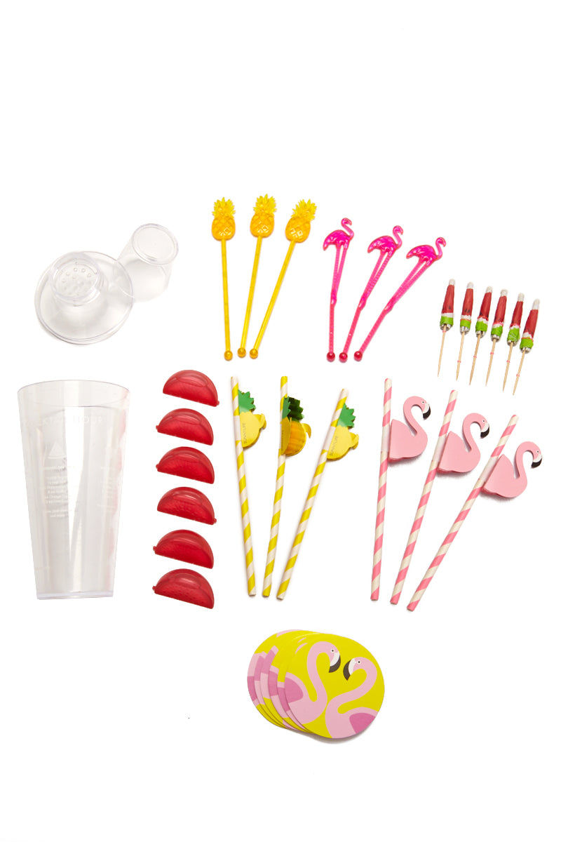 SUNNYLIFE Cocktail Kit Fruit Salad Accessories | Sunnylife Cocktail Kit Fruit Salad Full View  Set includes x1 shaker, x6 coasters, x6 cocktail watermelon umbrellas, x3 pineapple paper straws, x3 flamingo paper straws, x3 pineapple stirrers x3 flamingo stirrers and x6 ice cubes. Features 4 delicious cocktail recipes. Suitable for ages 12+ BPA Free Measurement: 9.5 x 9.5 x 25 cm Material/s: PS (BPA free), PE, Paper