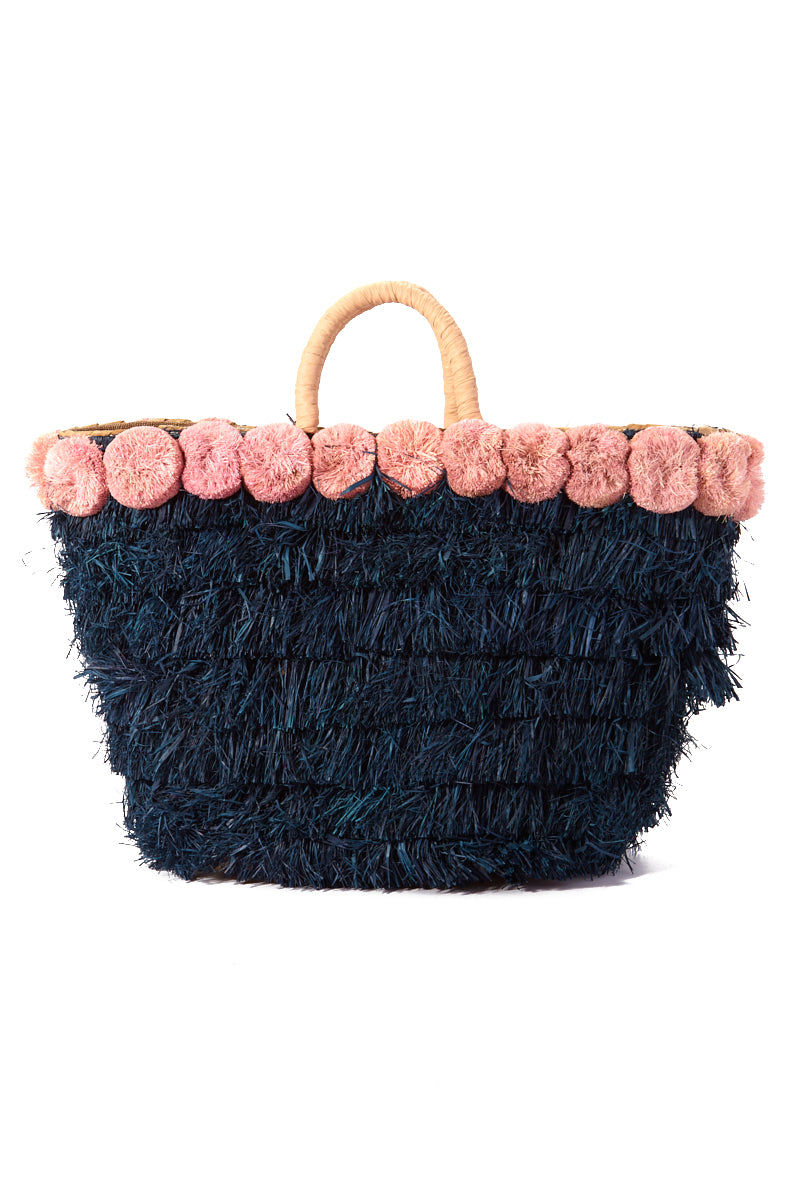 """KAYU Lucca Raffia Tote - Pink/Blue Bag 