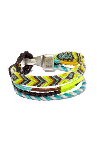 HIPANEMA AMENAPIH MEN Leo Bracelet (Men's) - Neon Yellow Jewelry | Neon Yellow| HIPANEMA AMENAPIH Leo Mens Bracelet - Neon Yellow Side View  Turquoise & Neon Yellow  Bracelet  Hook Clasp Closure  Composed of woven cotton threads, faux leather link, and  braided cord Measurements: 20 cm