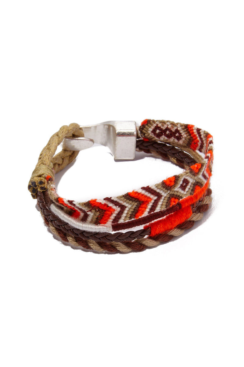 HIPANEMA AMENAPIH MEN Leo Bracelet (Men's) - Orange Jewelry | Orange| Hipanema Amenapih Leo Mens Bracelet - Orange Front View Orange & Beige Bracelet  Hook Clasp Closure  Composed of woven cotton threads, faux leather link, and  braided cord Measurements: 20 cm