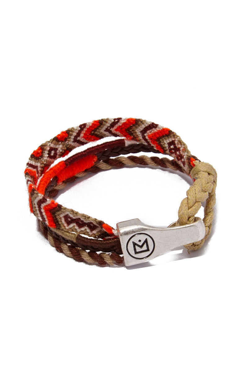 HIPANEMA AMENAPIH MEN Leo Bracelet (Men's) - Orange Jewelry | Orange| Hipanema Amenapih Leo Mens Bracelet - Orange Back View Orange & Beige Bracelet  Hook Clasp Closure  Composed of woven cotton threads, faux leather link, and  braided cord Measurements: 20 cm