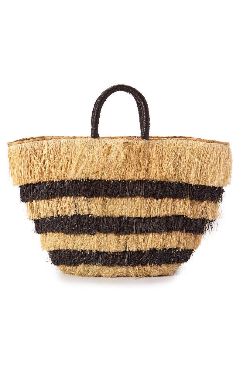 KAYU Piñata Tote - Black/Natural Stripes Bag | Black/Natural Stripes| Kayu Piñata Tote Raffia fringe body Leather wrapped handles Drawstring lining