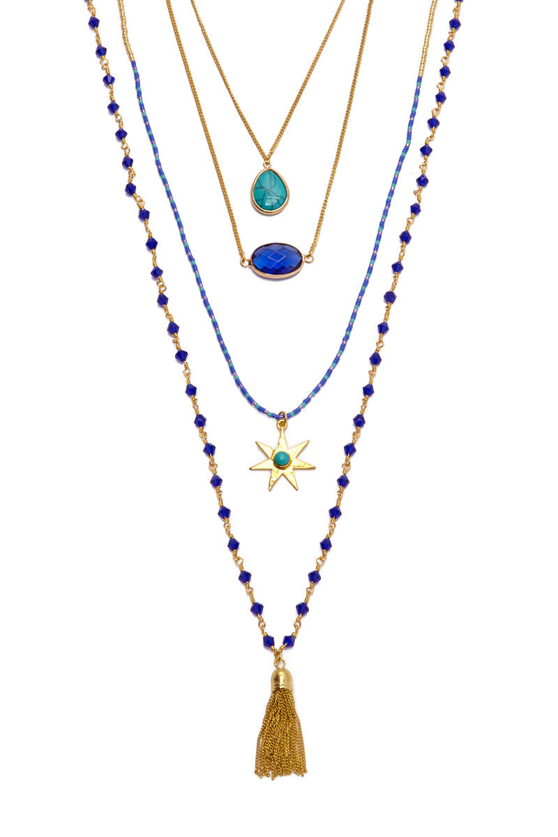 HIPANEMA AMENAPIH Mumbai Necklace - Gold Jewelry   Gold  HIPANEMA AMENAPIH Mumbai Necklace - Gold  Front View  Multi-link Necklace  Made of Four Chains  Colorful Stones  Chain of Tassels & Star Pendant  Gold Plated Metal with Blue Details