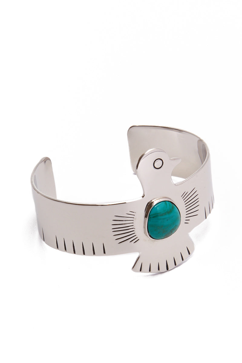 HIPANEMA AMENAPIH Royal Cuff - Silver Jewelry | Silver| HIPANEMA AMENAPIH Royal Cuff - Silver Side View Large Eagle Bangle  Silver Plated Metal  Turquoise Resin Stone in the Center
