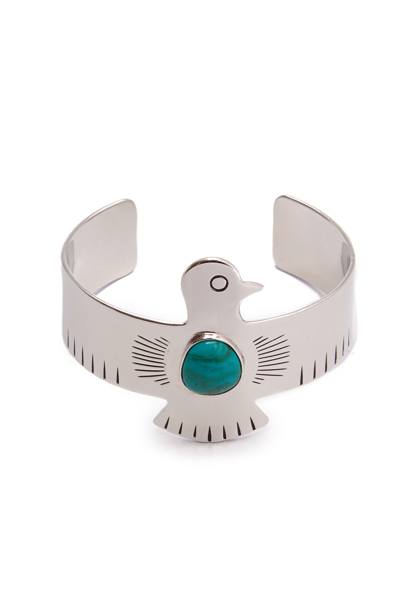 HIPANEMA AMENAPIH Royal Cuff - Silver Jewelry | Silver| HIPANEMA AMENAPIH Royal Cuff - Silver Front View Large Eagle Bangle  Silver Plated Metal  Turquoise Resin Stone in the Center
