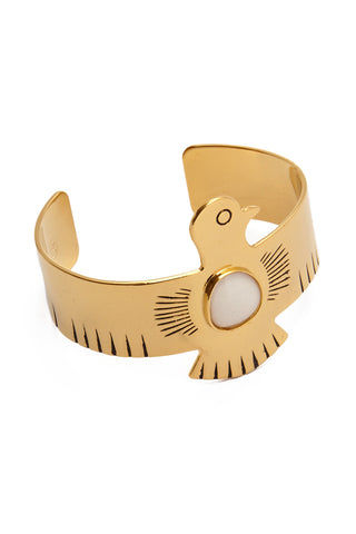 HIPANEMA AMENAPIH Royal Cuff - Gold Jewelry | Gold| HIPANEMA AMENAPIH Royal Cuff - Gold Side View Large Eagle Bangle  Gold Plated Metal  Resin Stone in the Center