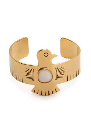 HIPANEMA AMENAPIH Royal Cuff - Gold Jewelry | Gold| HIPANEMA AMENAPIH Royal Cuff - Gold Front View Large Eagle Bangle  Gold Plated Metal  Resin Stone in the Center