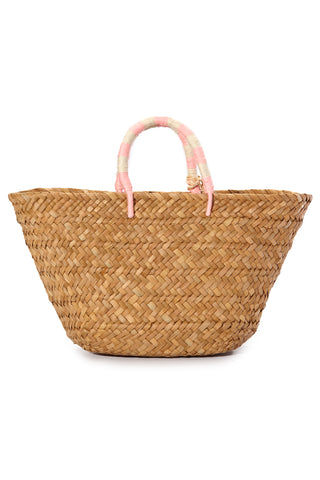 "KAYU St. Tropez Tote - Baby Pink Bag | Baby Pink| Kayu St. Tropez Tote - Baby Pink Handwoven Tote Made of natural seagrass Raffia poms poms Yarn wrapped handles Roomy enough for your beach towel, sunglasses and more. Measurements: 17.5""L x 5.5""W x 9.5""H"