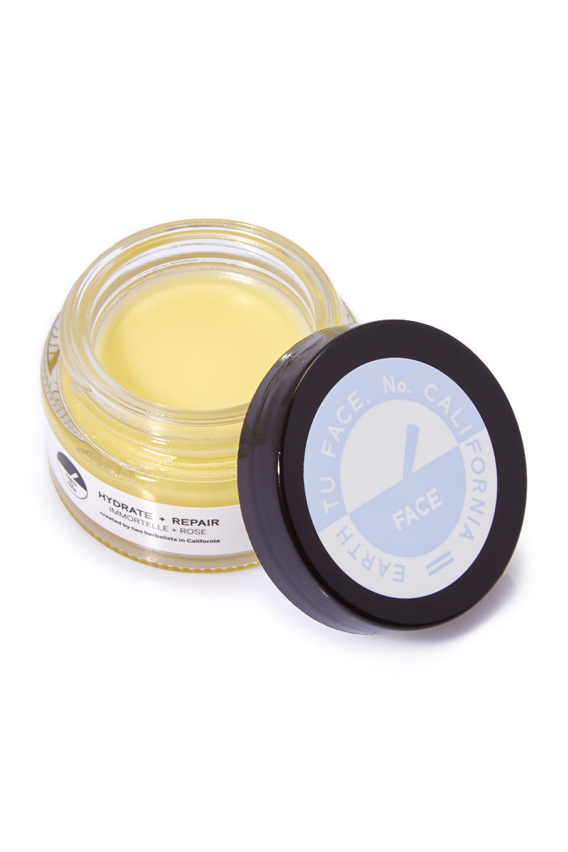EARTH TU FACE Organic Immortelle + Rose Facial Balm - 0.9 oz Beauty | EARTH TU FACE Face Balm - .9 oz A delicate blend of Immortelle flowers, Rose Petals and Australian sandalwood in an organic cream base. This formula offers the richest hydration for facial skin and intensive tissue repair. Even the driest of skin will be quenched at the cellular level by premium repair cream.
