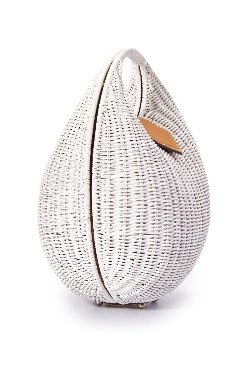 KAYU Elena Bag - White Bag | White| Kayu Elena Bag - White Full View Woven Wickered Bag  Leather Strap Closure  Magnetic Closure  Interior Pocket with Zipper Closure