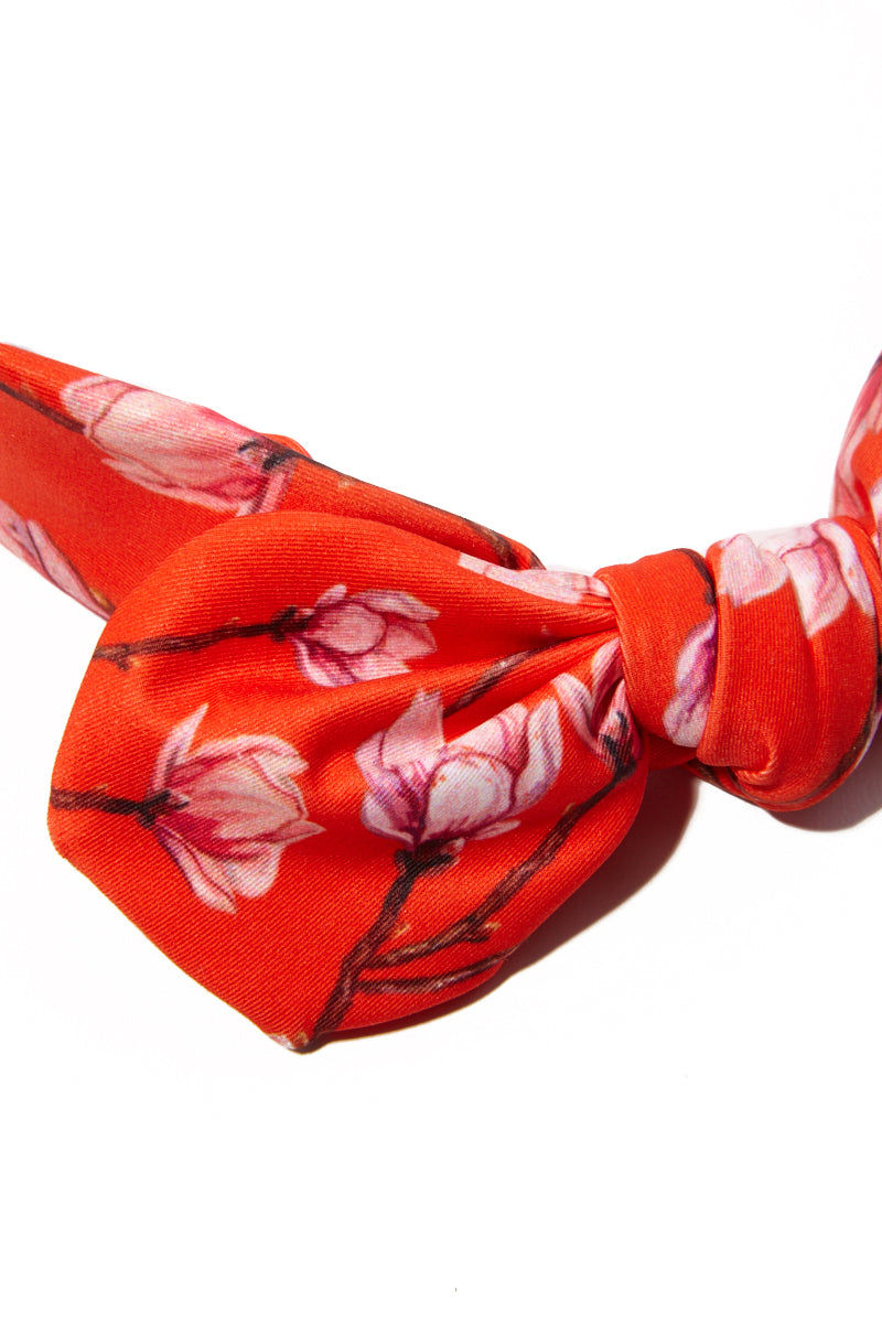 VERDELIMON Headband - Red Blossom Hair Accessories | Red Blossom|Verdelimon stretchy slip on knot bow headband in bright red blossom print