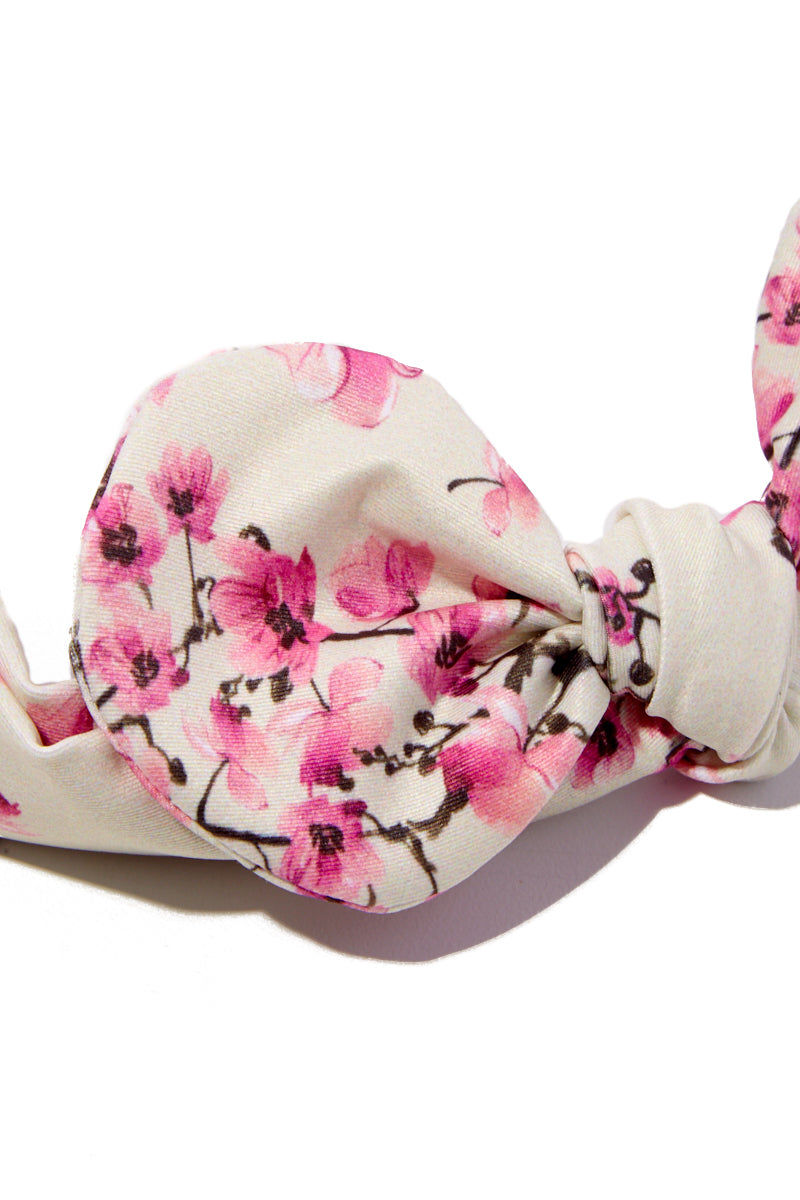 VERDELIMON Headband - Nude Blossom Hair Accessories | Nude Blossom|VERDELIMON stretch knot bow headband in pink floral cherry blossom print