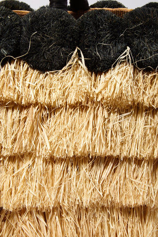 "KAYU Lucca Raffia Tote - Black/Natural Bag | Black/ Natural| Kayu Lucca Raffia Tote Close Up View Raffia fringe body  Raffia pom poms   Leather handle  A drawstring lining keeps your belongings safe  Roomy enough for all of your essentials  Measurements: 16"" W x 12"" H x 5"" D"