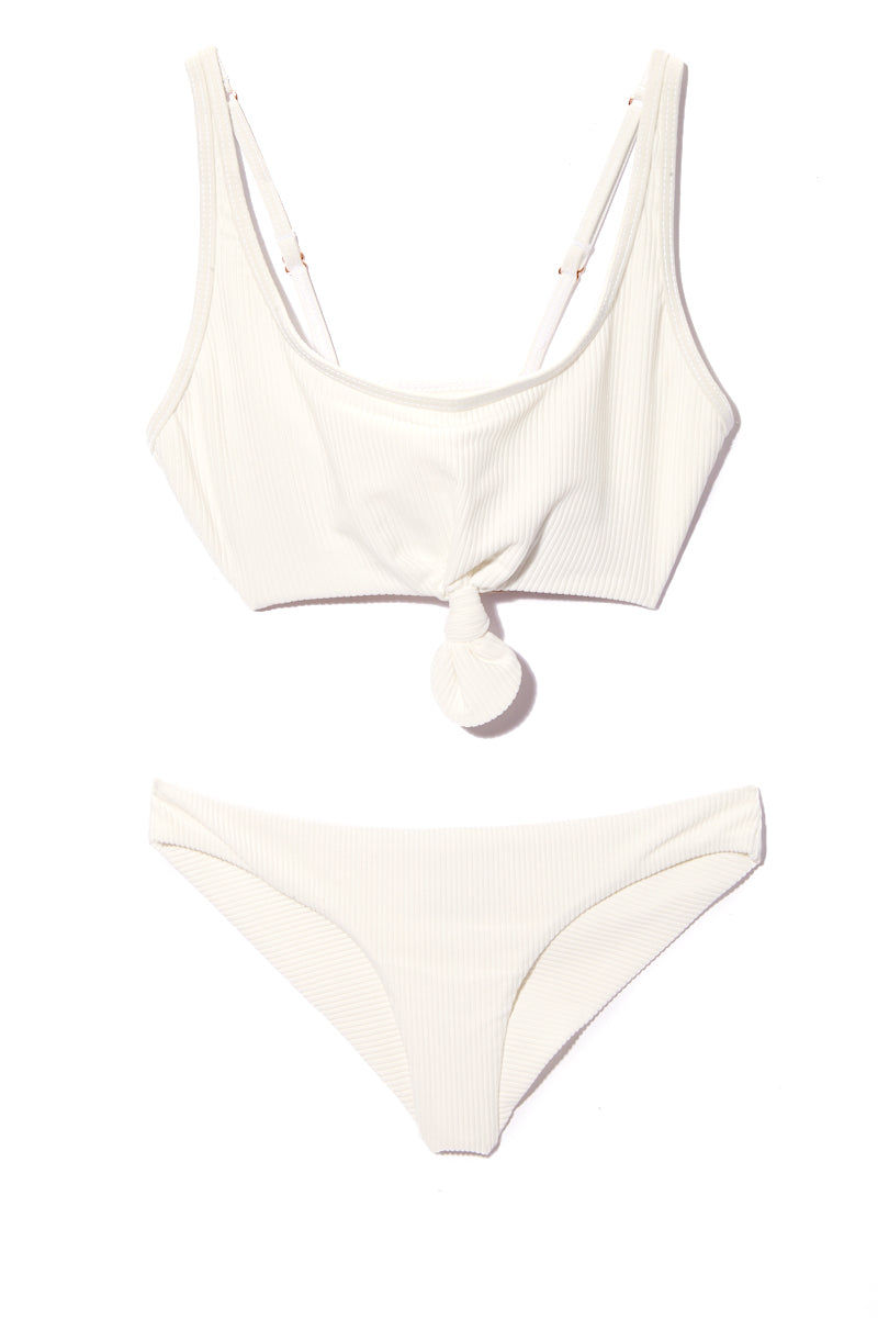 FRANKIES BIKINIS Greer Bikini Top - White Bikini Top | White| Frankies Bikinis Greer Bikini Top - White Flat Lay All White Sporty Bikini Top Luxe Ribbed Stretch Fit Fabric Front Knot Tie Detail Wide Shoulder Straps Adjustable Straps Wide Back Band As Seen on Alessandra Ambrosio