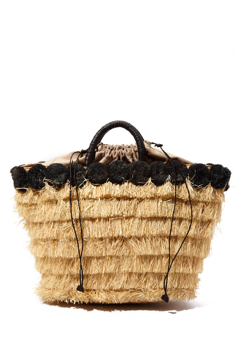 KAYU Lucca Raffia Tote - Black/Natural Bag | Black/Natural| KAYU Lucca Raffia Tote - Black/Natural