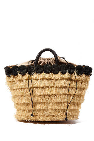 "KAYU Lucca Raffia Tote - Black/Natural Bag | Black/ Natural| Kayu Lucca Raffia Tote Back View Raffia fringe body  Raffia pom poms   Leather handle  A drawstring lining keeps your belongings safe  Roomy enough for all of your essentials  Measurements: 16"" W x 12"" H x 5"" D"