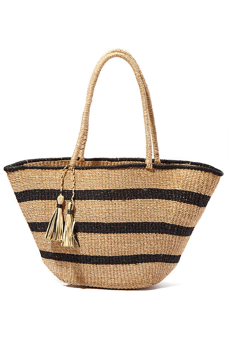 "KAYU Mare Stripe Tote Bag | Natural Stripes| Kayu Mare Stripe Tote Front View Striped Tote Made out of woven abaca Features coordinating raffia tassels Roomy enough for all of your essentials.  Measurements: 16.5"" W x 10.5"" H x 5"" D"