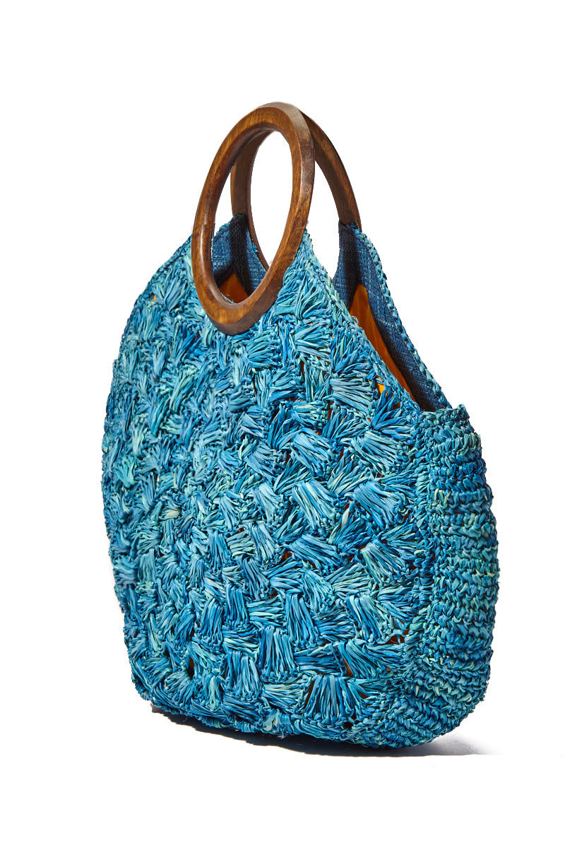 KAYU Coco Woven Tote With Wooden Handles - Blue Bag | Blue| Kayu Coco Woven Tote w/ Wooden Handles Side View
