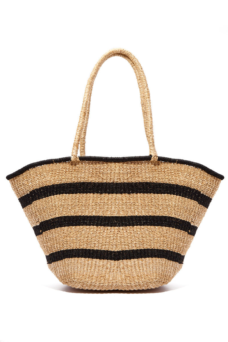 "KAYU Mare Stripe Tote Bag | Natural Stripes| Kayu Mare Stripe Tote Back View Striped Tote Made out of woven abaca Features coordinating raffia tassels Roomy enough for all of your essentials.  Measurements: 16.5"" W x 10.5"" H x 5"" D"