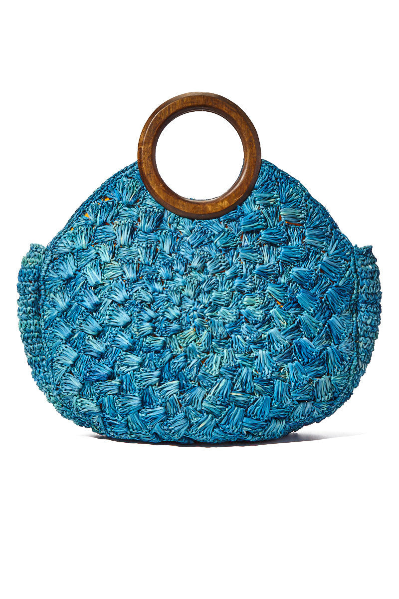 KAYU Coco Woven Tote With Wooden Handles - Blue Bag | Blue| Kayu Coco Woven Tote w/ Wooden Handles Back View