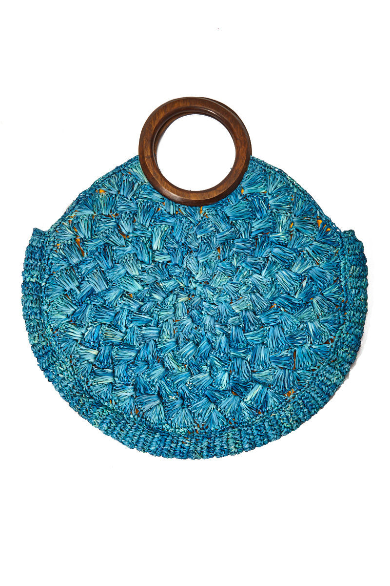 KAYU Coco Woven Tote With Wooden Handles - Blue Bag | Blue| Kayu Coco Woven Tote w/ Wooden Handles Front View