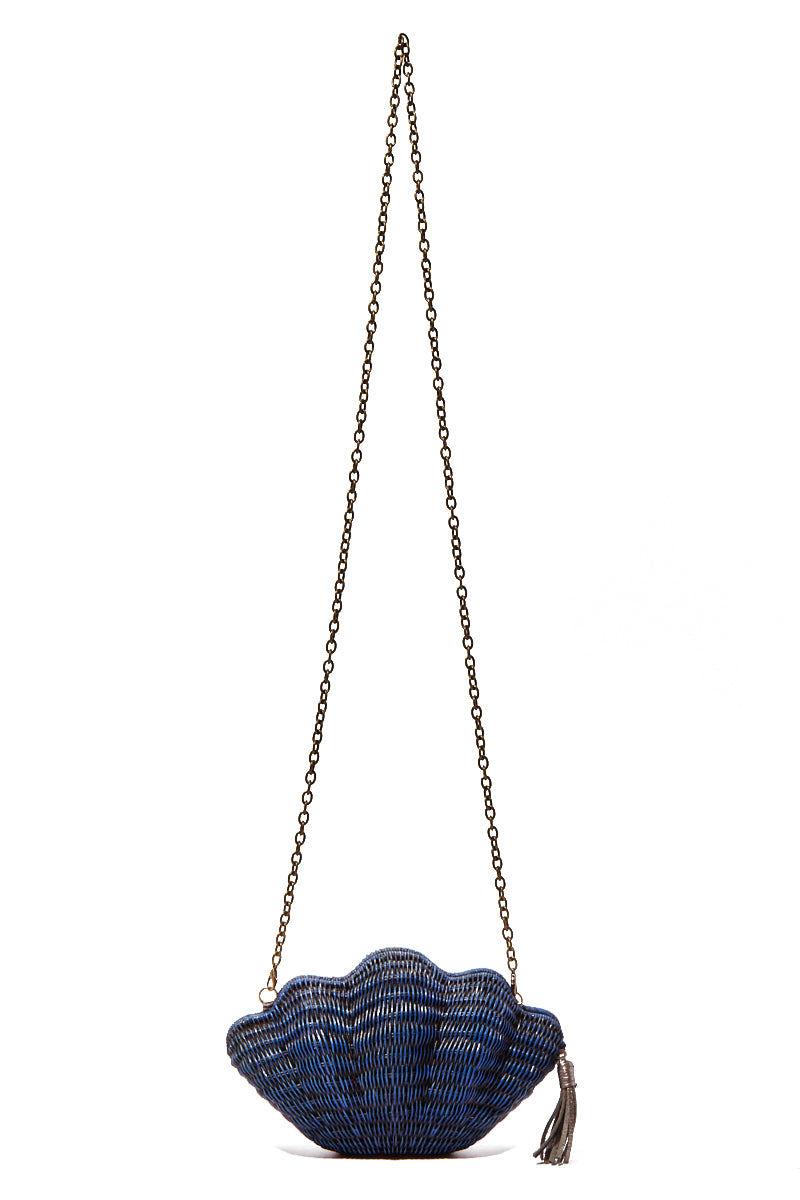 KAYU Jane Shell Clutch - Navy Bag | Navy| Kayu Navy Jane Shell Clutch Long Front View Navy| Kayu Navy Jane Shell Clutch Long Front View