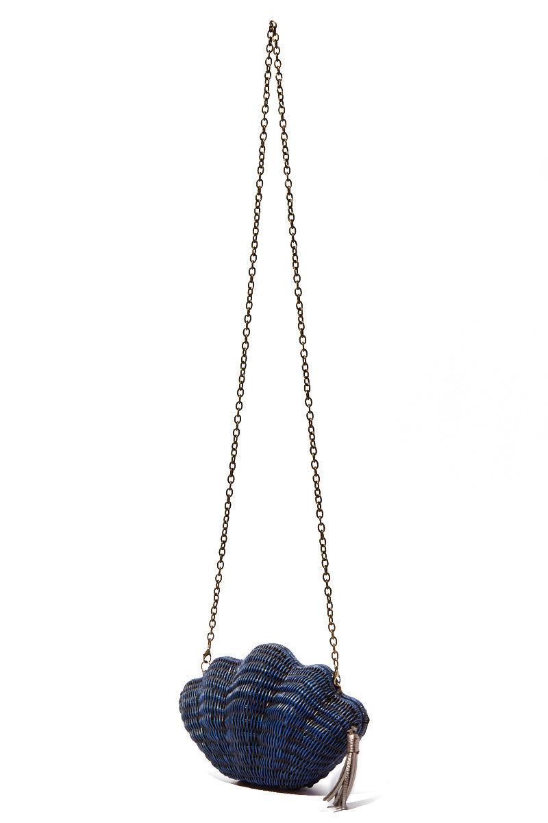 KAYU Jane Shell Clutch - Navy Bag | Navy| Kayu Navy Jane Shell Clutch Long Side View Navy| Kayu Navy Jane Shell Clutch Long Front View
