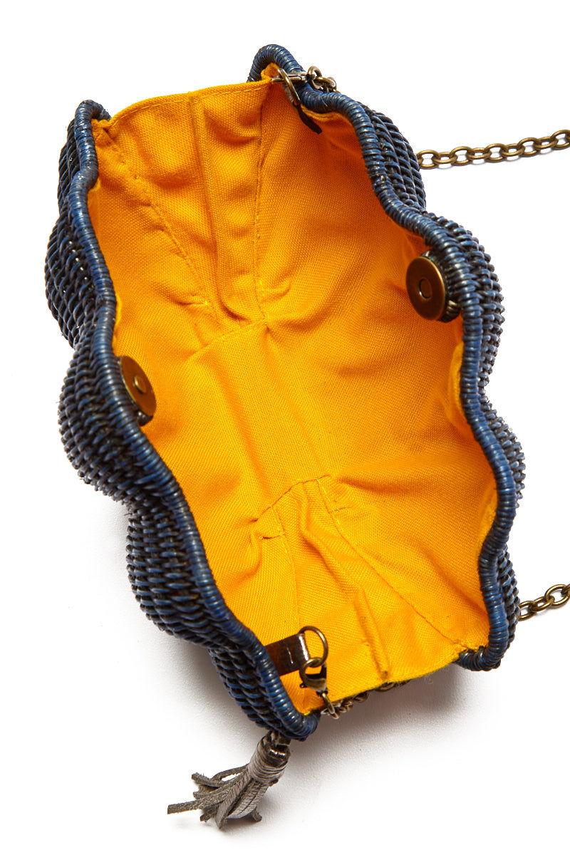 KAYU Jane Shell Clutch - Navy Bag | Navy| Kayu Navy Jane Shell Clutch Open View Navy| Kayu Navy Jane Shell Clutch Long Front View