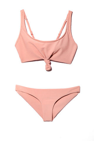 FRANKIES BIKINIS Greer Bikini Top - Vintage Rose Bikini Top | Vintage Rose| Frankies Bikinis Greer Bikini Top - Vintage Rose Flat Lay View Vintage Rose Pink Bikini Top Luxe Ribbed Stretch Fit Fabric Knot Front Detail Wide Shoulder Straps Adjustable Straps Wide Back Band As Seen on Alessandra Ambrosio