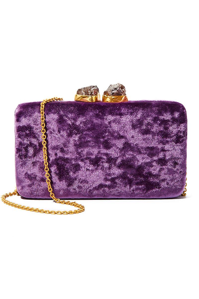 "KAYU Purple Velvet Margaux Clutch Bag | Purple| Kayu Purple Velvet Margaux Clutch Velvet Clutch Stone Clasp Closure  Optional Chain Strap Handcrafted  Measurements: 7.25"" W x 4"" H x 1.75"" D"