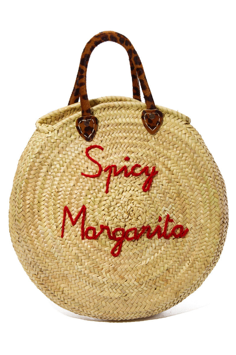 "POOLSIDE Straw Circle Bag - Spicy Margarita Bag | Red/ Leopard Print Handle| Poolside Spicy Margarita Le Cercle Embroidered Straw Tote Unique handmade circle straw tote Dual leopard print top handles Red embroidery - Spicy Margarita Bag: 15.5"" Diameter x 2""W Drop: 6"""