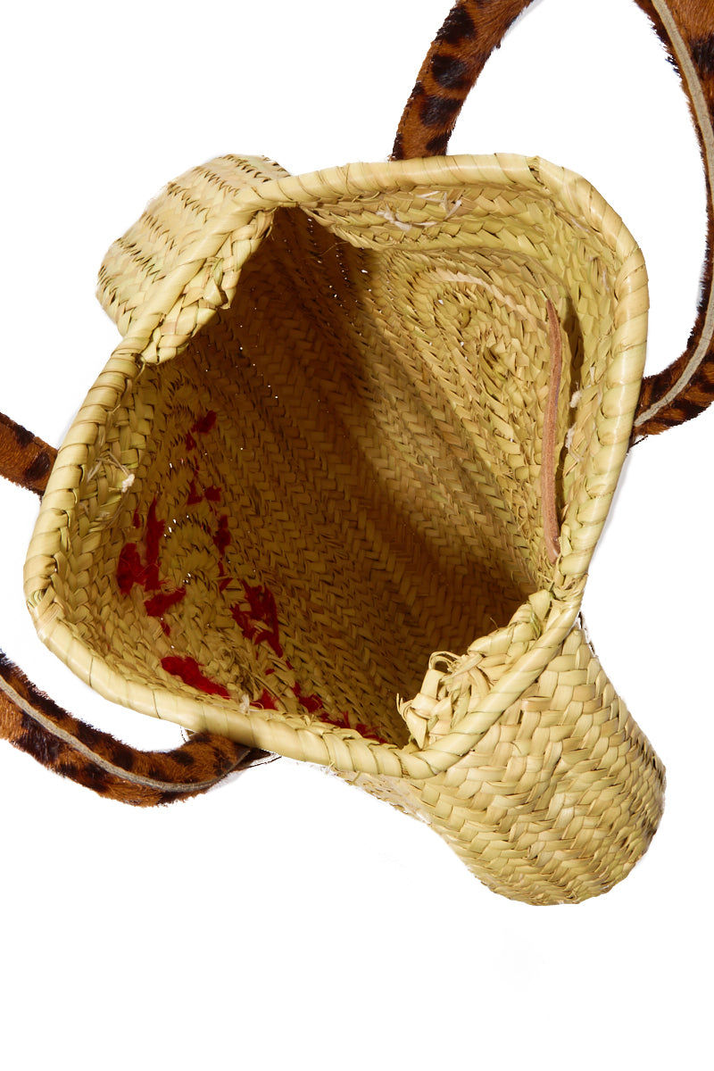 POOLSIDE Straw Circle Bag - Spicy Margarita Bag   Red/Leopard Print Handle  POOLSIDE Straw Circle Bag - Spicy Margarita