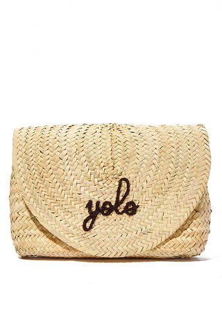 "POOLSIDE Straw Envelope Clutch - yolo Bag | Black Font| Poolside yolo  L' Enveloppe Embroidered Straw Clutch Envelope fold over straw clutch Black embroidery - yolo Measurements: 12""L x 2""W x 10""H"
