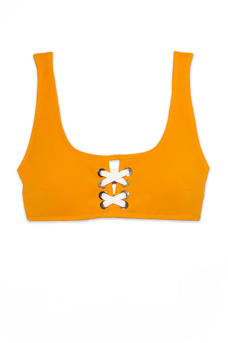 DEREK LAM 10 CROSBY Lace Front Top - Tangerine Bikini Top | Tangerine| DEREK LAM 10 CROSBY Lace Front Top - Tangerine Flatlay View Scoop Neckline Sports Bra Style Grommet Lace Up Front Detail Thick Shoulder Straps   Gold Tone Hardware Fully Lined