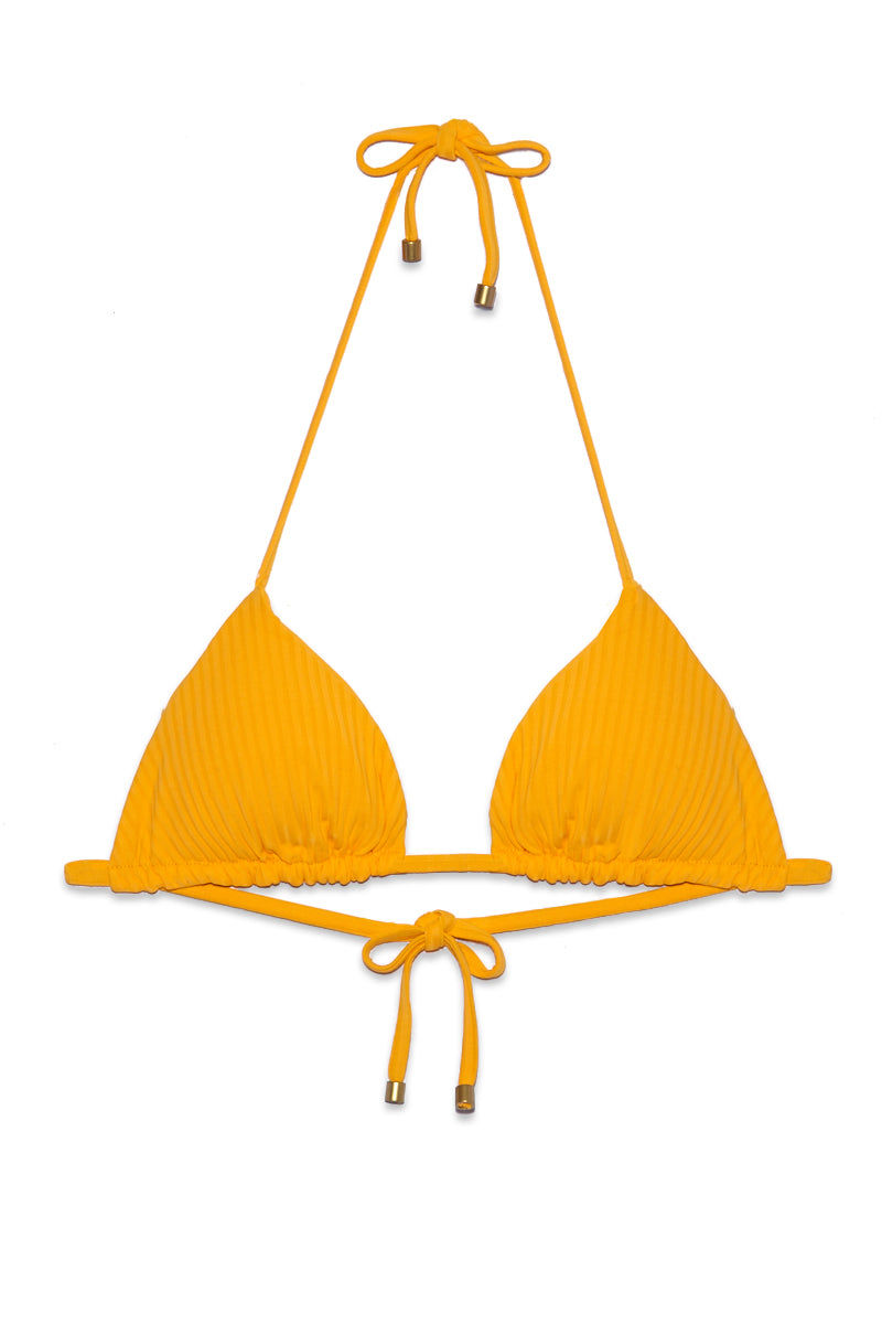 VITAMIN A Gia Rev Triangle Top - Sunflower Ecolux Bikini Top | Sunflower Ecolux| Vitamin A Gia Rev Triangle Top - Sunflower Ecolux Flat Lay View Classic triangle bikini top Adjustable halter ties at neck Adjustable ties at center back Reversible to ribbed fabric  Removable pads  Clean Finished seam  Superfine rib is Made locally in California from recycled nylon fiber. Made in USA 84% Recycled Nylon + 16% Lycra